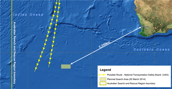 A map released by the Australian Maritime Safety Authority MH 370