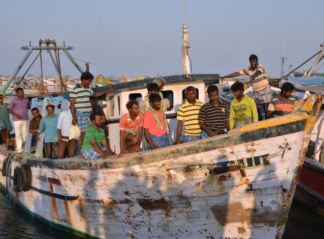 Released fishermen reach Rameswaram on Sunday. Photo: L. Balachandar