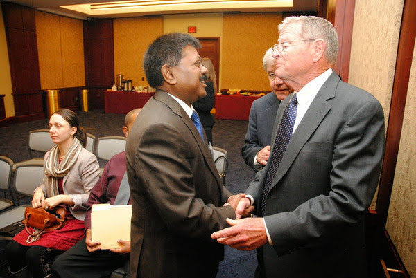 Ambassador Jaliya Wickramasuriya welcomes Senior U.S. Senator James Inhofe to the Sri Lankan - Americans gathering at Capitol Hill on March 26,2014, Washington , D.C.