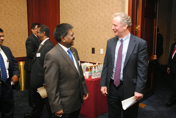 Co-chair of the Sri Lanka Congressional Caucus Congressman Chris Van Hollen with Ambassador Jaliya Wickramasuriya , at the Sri Lankan - Americans gathering at Capitol Hill on March 26,2014, Washington , D.C.