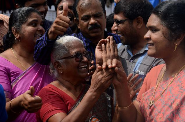 In this Feb 18 photo, Arputhammal, mother of Perarivalan, celebrates after the Supreme Court commuted the death sentence of her son and two other convicts, in Chennai. Photo: M. Vedhan