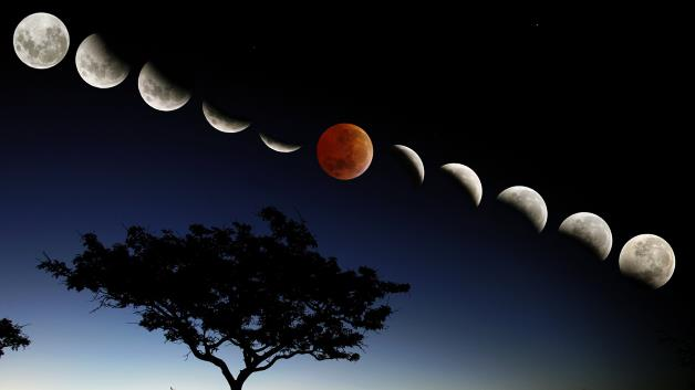 A composite photo of the lunar eclipse is seen in a multiple exposure photographed outside of Vaalwater, South Africa, in 2007. A lunar eclipse occurs when the full moon passes through Earth's shadow.