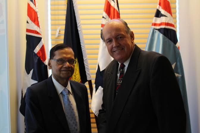 Australia's Defence Minister Senator David Johnston met GL peiris