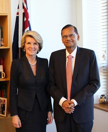 G.L. Peiris, Minister of External Affairs, met Ms. Julie Bishop