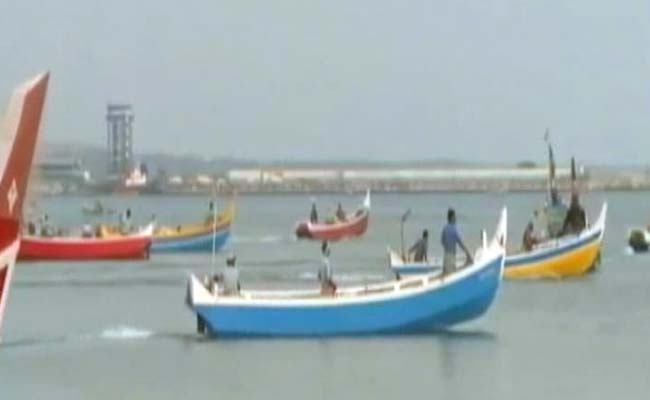 Fishing boats on the coast of Tamil Nadu