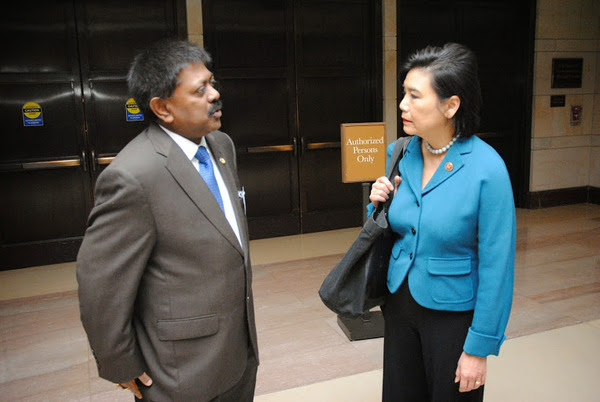 Ambassador Jaliya Wickramasuriya with Congresswoman Dr. Judy Chu at Capitol Hill, on March 26,2014, Washington , D.C.