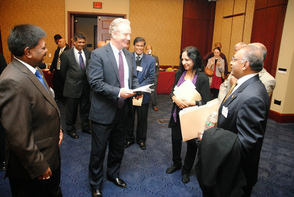 Co-chair of the Sri Lanka Congressional Caucus Congressman Chris Van Hollen and Ambassador Jaliya Wickramasuriya speak with Sri Lankan- American community members at Capitol Hill on March 26,2014, Washington , D.C.